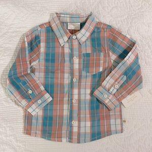 Rosie Pope Baby Pastel Plaid Button Down Shirt 24m